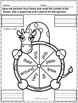 Reading Second Grade: Sight Word Sentences (No Prep Worksheets)