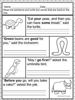 "Reading Second Grade ""Sight Word Sentences"" (Worksheets)"