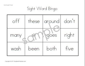 Second Grade Dolch Sight Words Supplemental Unit