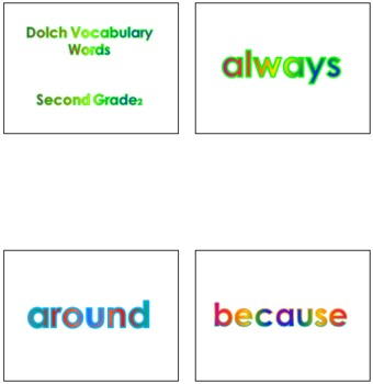 Second Grade Dolch Vocabulary Sight Words PowerPoint and Flash Cards #2