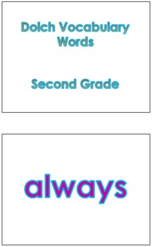 Second Grade Dolch Vocabulary Sight Words PowerPoint and Flash Cards #1