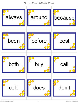 Second Grade Dolch Words Memory Game