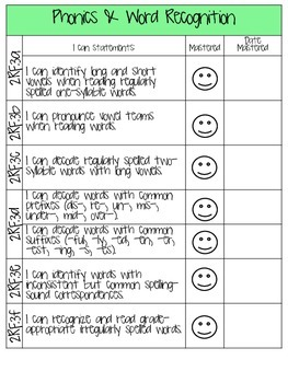 2nd Grade ELA Common Core I Can Student Checklist for Data Notebooks COLOR & B&W