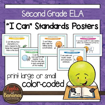 "Second Grade ELA Common Core Standards - ""I Can"" Posters & Statement Cards"