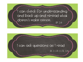 Second Grade ELA I Can Statements For Daily 5 CAFE (Common Core Standards)