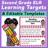 Second Grade Common Core ELA I Can Statements and Editable