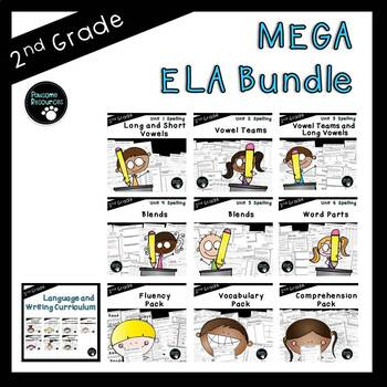 Second Grade ELA Mega Curriculum Bundle (OVER 800 EDITABLE Items!)