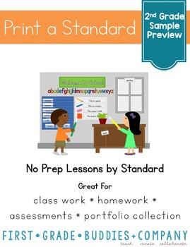 Second Grade ELA Print a Standard FREEBIE {No Prep ELA Sheets}