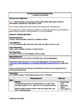 Second Grade ELA Weekly Plan- Harcourt Trophies/CC Aligned-Mixed-Up Chameleon
