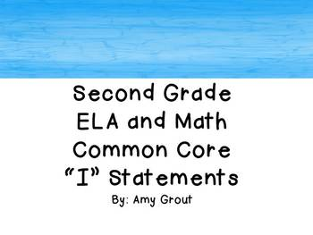 "Second Grade ELA and Math CCSS ""I Can"" Statements: Beach-Themed"