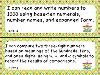 """Second Grade ELA and Math CCSS """"I Can"""" Statements: Circus-Themed"""