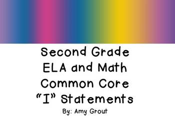 """Second Grade ELA and Math CCSS """"I Can"""" Statements: Groovy-Themed"""