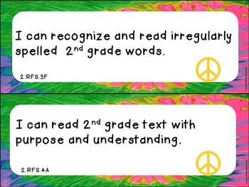 "Second Grade ELA and Math CCSS ""I Can"" Statements: Groovy-Themed"