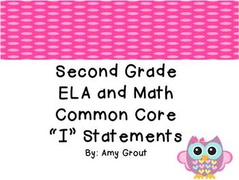 """Second Grade ELA and Math CCSS """"I Can"""" Statements: Owls and Polka Dots"""