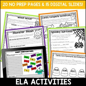 Halloween Literacy and Math Activities: No Prep Second Grade
