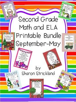 Second Grade ELA and Math Printables Bundle