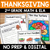 Thanksgiving Literacy and Math No Prep Mini Unit for Second Grade