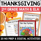 Thanksgiving Digital & NO PREP Printable Math and ELA Activities