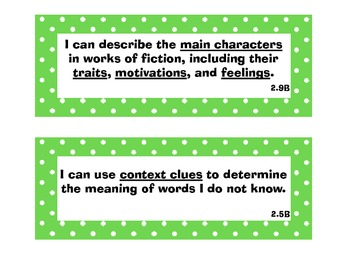 Second Grade Reading TEKS Readiness & Supporting Standards Posters (STAAR)