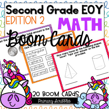 Second Grade EOY Math Review Digital BOOM Cards Edition 2