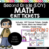 Second Grade EOY Math Review Exit Tickets (Digital Version
