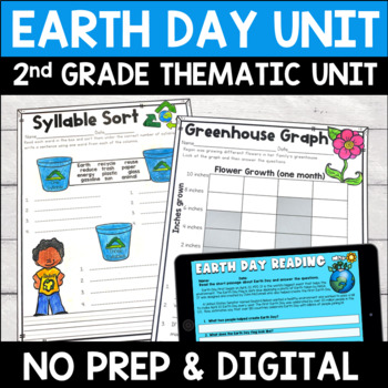 Earth Day Literacy and Math No Prep Mini Unit for Second Grade