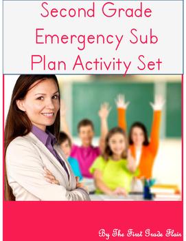 Second Grade Emergency Sub Plan Activity Set *NO Prep*