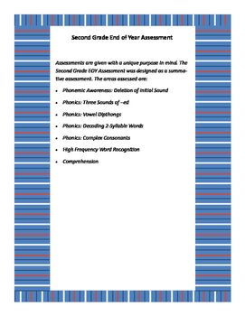 Second Grade End of Year Assessment