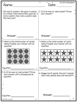 Second Grade End Of Year Common Core Math Assessment By