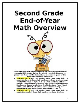 Second Grade End-of-Year Math Overview Packet