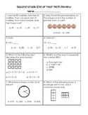 Second Grade End of Year Math Review