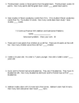 Second Grade Envision Math Unit Seven Extra Practice Sheets