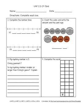 Second Grade Everyday Math 4 Unit 1 Quizzes