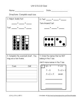 Second Grade Everyday Math 4 Unit 2 Quizzes