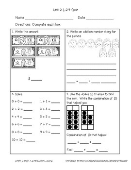 Second Grade Everyday Math 4 Unit 2 Quizzes