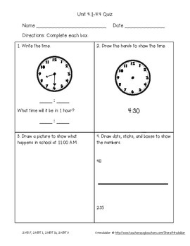 Second Grade Everyday Math 4 Unit 4 Quizzes