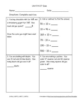 Second Grade Everyday Math 4 Unit 5 Quizzes