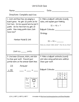 Second Grade Everyday Math 4 Unit 6 Quizzes