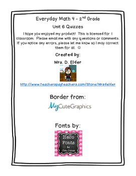 Second Grade Everyday Math 4 Unit 6 Quizzes