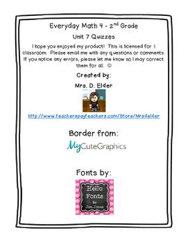 Second Grade Everyday Math 4 Unit 7 Quizzes