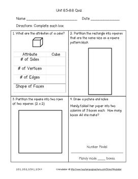 Second Grade Everyday Math 4 Unit 8 Quizzes