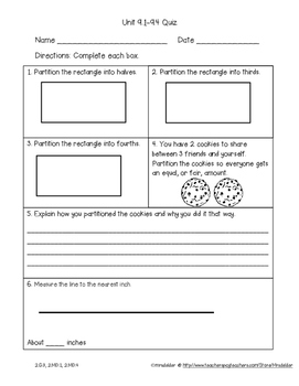 Second Grade Everyday Math 4 Unit 9 Quizzes