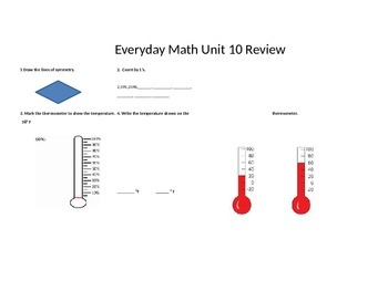 Second Grade Everyday Math Unit 10 Review