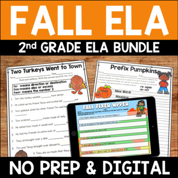 Fall No Prep Literacy Pack for Second Grade