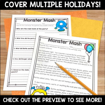 Fall Literacy and Math No Prep Bundle for Second Grade