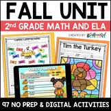 Fall Digital & Printable Math and ELA Activities Bundle for 2nd Grade