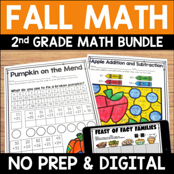 Fall No Prep Math Pack for Second Grade
