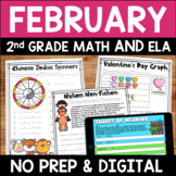 February Literacy and Math No Prep Bundle for Second Grade