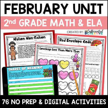 February Literacy and Math: No Prep Second Grade
