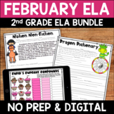 February Digital & Printable ELA Activities Bundle for 2nd Grade